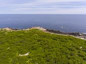 Aerial View Of Thacher Island Coast In Rockport, Cape Ann, Massachusetts, Usa. poster