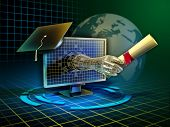 foto of online education  - Android hand emerges from a monitor and delivers a diploma - JPG