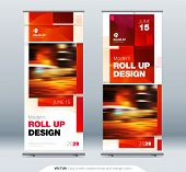 Business Roll Up Banner Stand. Abstract Roll Up Background For Presentation. Vertical Roll Up, X-sta poster