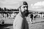 Visit Summer Festival. Hipster In Cap Happy Celebrate Event Fest Or Festival. Summer Fest. Man Beard poster