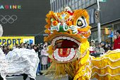 FLUSHING, NY - FEB 12: A Dragon dance team participates in a Chinese New Year Parade on February 12,