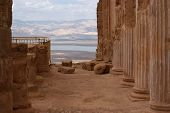 pic of masada  - Ruins of ancient colonnade of King Herod - JPG