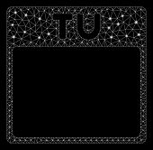 Bright Mesh Tuesday Calendar Page With Glow Effect. Abstract Illuminated Model Of Tuesday Calendar P poster