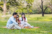 Asian Families Relax In The Park poster