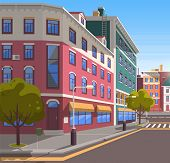 Town With Buildings And Empty Street, 3d Look Of City Road And Houses. Bushes And Trees, Greenery Ci poster