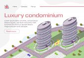 Luxury Condominium Horizontal Banner, Buildings, Real Estate Residential Complex, Multi-storey House poster