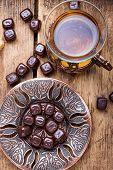 Turkish Tea On Wooden Table poster