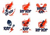 Rap Music Vector Logo Or Emblems Set With Microphone In Hand Flames And Lightning Bolt, Hot Hip Hop  poster