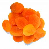 Pile Of Dry Apricots Isolated On The White Background,top View. Dried Apricots poster