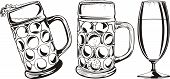 beer mug and glass - black and white