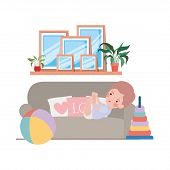 Cute Little Boy Baby In The Livingroom Character Vector Illustration Design poster