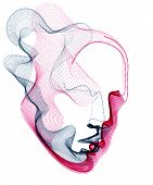 Beautiful Futuristic Illustration Of Human Head Made Of Dotted Particles Flow Array, Wavy Shapes Lin poster