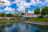 Niort, France - May 11, 2019: A View Of Niort From The Quay Of Sevre Niortaise River, Deux-sevres, P poster