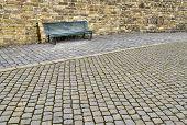 Empty wooden bench.