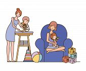 Cute Pregnancy Mothers With Little Babies In Livingroom Vector Illustration Design poster