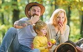 Healthy Food Is Healthy Life. Happy Son With Parents In Autumn Forest. Family Picnic. Healthy Food.  poster