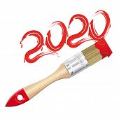2020 - Red Paint Lettering. The Inscription With A Brush. Inscription Tassel. 2020 Inscription. Vect poster