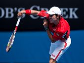 MELBOURNE - JANUARY 25: Kei Nishikori of Japan in his quarter final loss to Andy Murray of Great Bri