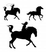 Cowgirl Riding Horse And Chasing Mustang With Lasso - Wild West  Rider Black Vector Silhouette Set poster