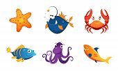 Cute Friendly Sea Creatures Set, Colorful Adorable Marine Animals Vector Illustration poster