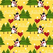 Christmas Holiday Season Seamless Pattern With Cute Cartoon Penguins In Winter Custom With Balloon,  poster