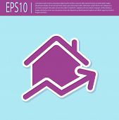 Retro Purple Rising Cost Of Housing Icon Isolated On Turquoise Background. Rising Price Of Real Esta poster