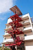 Modern building fire escape