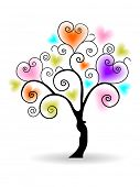 Colorful love tree made by small heart shapes with floral design and copy space for your text, isola