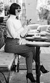 Relax And Coffee Break. Call Friend. Leisure Concept. Girl Fashionable Lady With Smartphone. Woman A poster