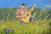Summer Music Festival Outdoors. Playing Music. Sound Of Freedom. Inspired Musician Play Rock Ballad. poster