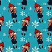 Christmas Holiday Season Seamless Pattern With Cute Girl In Winter Custom Holding Cute Reindeer Doll poster