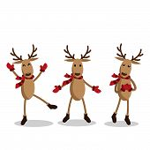 Set Of Reindeer For Christmas Holiday Season. Cute Christmas Holidays Cartoon Character Background.  poster