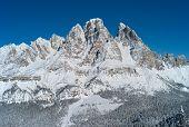Monte Cristallo Mountain, Snow Covered In Winter, Seen From Faloria, Cortina D Ampezzo Ski And Winte poster