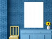Blank Picture Frame 3d Render,there Is A Blank Picture Frame Hanging On The Blue Brick Wall Above Th poster