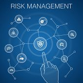 Risk Management Concept, Blue Background.control, Identify, Level Of Risk, Analyze poster