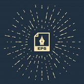 Beige Eps File Document. Download Eps Button Icon Isolated On Dark Blue Background. Eps File Symbol. poster