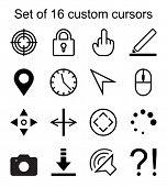 Set Of 16 Custom Cursors. Target, Lock, Marker, Clock, Arrow, Mouse, Camera, Question Mark Etc. Can  poster