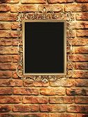 Gallery, Empty Golden Frame On Brick Wall