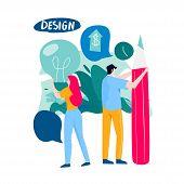 Design Studio, Designing, Graphic Design, Drawing, Art, Creative Ideas, Education Flat Vector Illust poster