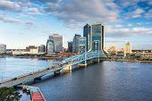 Jacksonville, Florida, USA downtown city skyline at dusk. poster