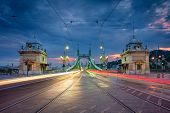 Budapest, Hungary. Cityscape Image Of Budapest With Liberty Bridge During Twilight Blue Hour. poster