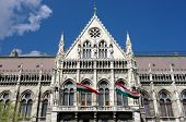 Budapest, the official entrance main of the Hungarian Parliament Building, built in neo-Gothic, in t
