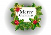 Merry Christmas Greeting Card Design. Xmas Berries poster