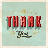 Vintage Thank You Card - Vector EPS10. Grunge effects can be easily removed for a brand new, clean c