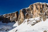 Pico de Vallon, na estância de esqui de Corvara, Alta Badia, Alpes Dolomitas, Itália
