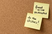 Yellow Sticky Note/ Post It Food In The Microwave, Do The Dishes