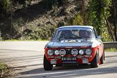 Leiria, Portugal - February 2: Adalberto Melim Drives A Alfa Romeo 2000 Gt During 2013 Amateur Winte
