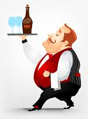 Cartoon Character Cheerful Chubby Men. Waiter. Vector Illustration. EPS 10.