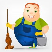 Cartoon Character Cheerful Chubby Men. �?��?��?�?leaner. Vector Illustration. EPS 10.