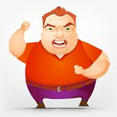 Cartoon Character Cheerful Chubby Men. Engry. Vector Illustration. EPS 10.